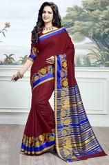 Fashion and trend will be at the peak of your splendor once you attire this maroon cotton silk traditional saree. The interesting woven work across the attire is awe inspiring. Comes with matching bl. Maroon Saree, Maroon Dress, Cotton Saree, Cotton Silk, Blouse Styles, Blouse Designs, Lehenga Saree, Sari, Farewell Sarees