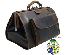 Doctor's bag TRISTAN with front pocket brown buffalo leather - BARON of MALTZAHN