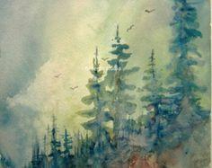 Paisaje pintura archivo imprimir acuarela bosque por RPeppers
