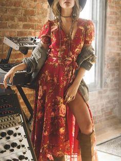 Bohemia Red Floral V-neck Wrap Dress – oshoplive