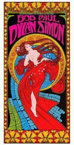 Bob Dylan & Paul Simon concert poster by Bob Masse