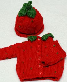 Strawberry Sweater and Hat por BabyBeatrini en Etsy