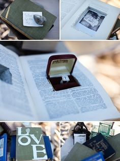 """Write a love story, go back and forth to each other and he puts a ring in the book and writes """"will you marry me?"""" at the end of one entry."""
