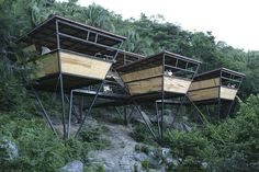 V-Houses, a jungle retreat near the fishing village of Yelapa in tropical Mexico. This rustic-modern aesthetic hotel was designed by Heinz Legler. Triangular Architecture, Architecture Design, Tropical Architecture, Unusual Hotels, Casas Containers, Prefab Homes, Prefab Cabins, Modern Rustic, Outdoor Furniture Sets