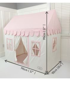 Kids Playhouse - Cream and Pink Soft Cotton Canvas with Canvas Carry Bag Pvc Playhouse, Pvc Connectors, White Curtains, Simple Bags, Pvc Pipe, Kids Tents, Play Houses, Bag Storage, Diy For Kids