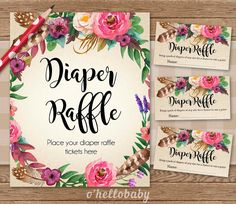 Diaper Raffle Baby Shower Game - Floral Bohemian Theme - Baby Boy Baby Girl Unisex Baby Shower Party - Team Blue Team Pink - 012