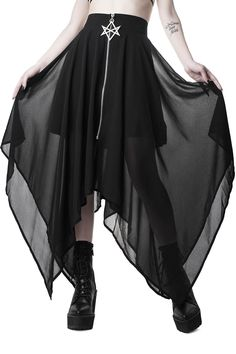 The 'Sacred Sixx' statement maxi skirt, in super soft and flowing chiffon with pointed edge styling, wide waistband, and feature front-zip with extra large hexagram hardware. Complete with modesty lining Dark Fashion, Gothic Fashion, 1950s Fashion, Fashion Women, Gothic Mode, Asymmetrical Skirt, Gothic Outfits, Looks Cool, Ideias Fashion