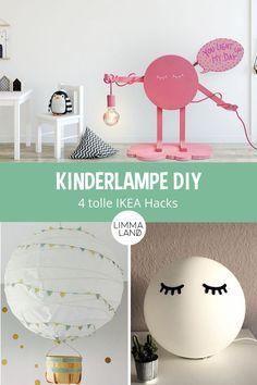 Kinderlampe DIY. Lampe im Kinderzimmer. Selbstgebastelt passt doch ins  Kinderzimmer am besten! Deshalb haben wir für euch Bastelfans hier die  kreativsten DIY Hacks zusammengestellt und Schritt für Schritt erklärt,  wie ihr es zu Hause im Kinderzimmer am einfachsten nachmachen könnt.  www.limmaland.com #kinderlampe #lampediy #lampefuerkinderzimmer  #limmaland #ikeahacks Diy Hacks, Ikea Hacks, Inspiration, Lighting, Home Decor, Childrens Gifts, Creative Ideas, Biblical Inspiration, Room Decor