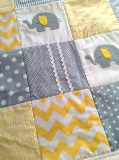 Elephant Crib Quilt Set, custom order in navy and yellow, made to order