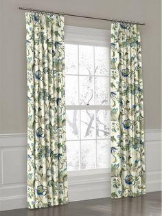 Blue Jacobean Floral Custom Euro Pleat Drape | Loom Decor