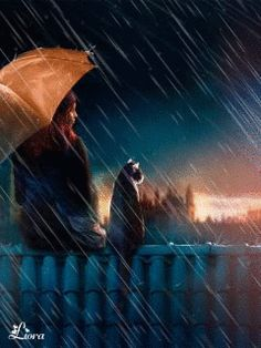 Friends in the rain