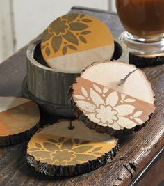 Coaster Set with Barnwood Box- Autumn Home Decor