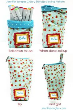 "Storage Sewing Pattern - use for cutting tools, markers, toys, etc. 10"" high - base 4""x4"""