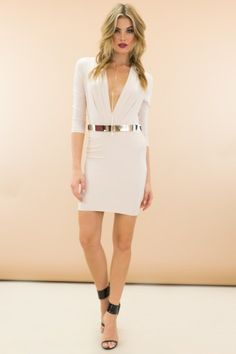 3cda2621906 Sexy White and Gold Sequin Cutout Bodycon Dress