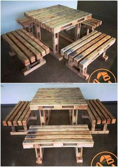 Recycled Pallet Wood Projects, You Can Easily Build It would be so much amazing to learn about the fact of using the shipping wood pallets in the interesting designing of the table and benches Diy Pallet Sofa, Wooden Pallet Furniture, Diy Pallet Projects, Furniture Plans, Diy Furniture, Woodworking Furniture, Pallet Ideas, Woodworking Projects, Modern Furniture