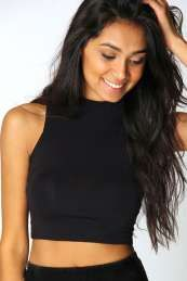 Victoria Roll Neck Sleeveless Crop Top