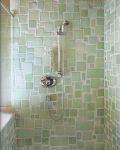 Mosaic sea glass tile bathroom shower in pretty shades of pale green. Love the random sizes and larger grout lines. From Bedrock Industries Blazestone recycled glass tile in Mineral. Escalier Design, Deco Nature, Tadelakt, Spring Shower, Grout Cleaner, Green Cleaning, Spring Cleaning, Recycled Glass, Recycled Materials