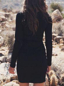 Black Long Sleeve Lace Up Sheath Dress -SheIn(Sheinside)