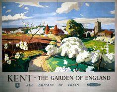 Kent, Garden of England, Vintage Railway Travel Poster Print by British Railways Southern Region Posters Uk, Train Posters, Railway Posters, Poster Prints, Modern Posters, Art Prints, Travel English, British Travel, Train Art