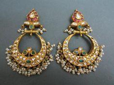 Chand Bali #gold #temple #rubies #polki #earrings