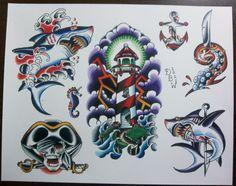 Nautical Traditional Tattoo Flash Sheet by DerekBWard on Etsy