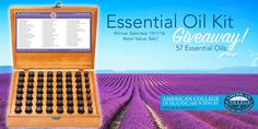 Essential Oil Kit Giveaway! From the American College of Healthcare Sciences   https://contact.achs.edu/september-2016-essential-oil-kit-giveaway?utm_campaign=September+2016+Essential+Oil+Kit+Giveaway