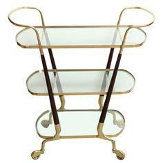 1stdibs - Mid-Century Italian Brass and Walnut Three Tier Bar Cart explore items from 1,700  global dealers at 1stdibs.com