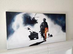 Battlefield Cover Art Acrylic Painting by EmilyStudio on Etsy, $150.00