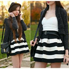 🎀Black & White Skirt🎀 In great condition, I have only worn this once! It's great to dress up or down 😊 It looks adorable when put on ❤ Forever 21 Skirts
