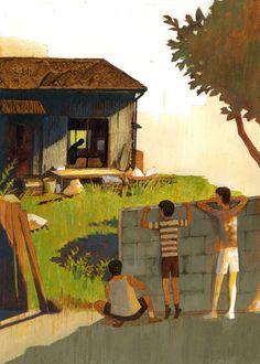 小説「夏の庭 Friends」をイメージしたオリジナル作品です (紙にアクリルガッシュ) personal work acryl gouache on paper