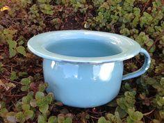 SOLD - Vintage Blue Enamel Chamber Pot by CottageKisses.