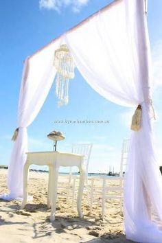 Image result for wedding arbours Wedding Arbors, Wedding Hire, Boho Wedding, Beach Ceremony, Ceremony Backdrop, Ceremony Decorations, Shell Chandelier, Byron Bay Weddings