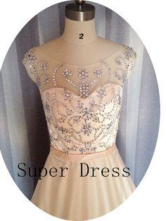 Elegant Boat Neck Bead Tulle Prom Dress, Long Champagne Prom Dress,Evening Dress .Bead Prom Dress