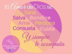 El amor de Dios te: sana, salva, bendice, ama, perdona, consuela, cuida y siempre te acompaña.