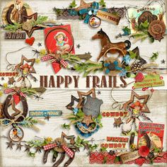 A set of cowboy themed side clusters designed to coordinate with the Happy Trails collection.