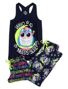 Shop Owl Pajama Set and other trendy girls pajamas pjs, bras & panties at Justice. Find the cutest girls pjs, bras & panties to make a statement today. Cute Pjs, Cute Pajamas, Comfy Pajamas, Pajama Outfits, Girl Outfits, Cute Outfits, Satin Pyjama Set, Pajama Set, Pyjamas