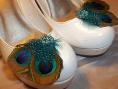 Shoe Clips Peacock Natural Cut Teal Green Blue Bridal Wedding Shoe Clips New   eBay
