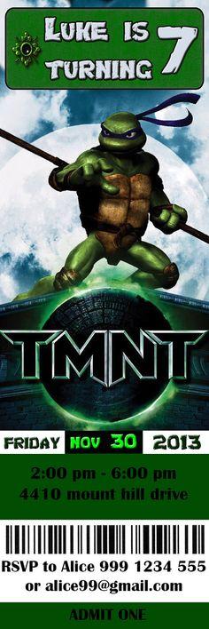 Teenage Mutant Ninja Turtles Birthday Invitation TICKET - Digital File. $10.00, via Etsy.
