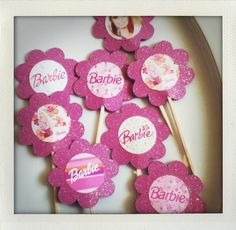Pink Barbie glitter cupcake toppers picks by glittermama on Etsy, $5.95