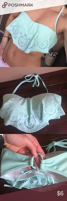 Xhilaration Mint Ruffle Bandeau Bikini Top Target swimwear. Super cute with cutout detail. Great condition! Some minimal wear on the inside as shown in picture. Removable neck strap. Adjustable tie in the back. I'm a 34B bra size and this fits me well. Can be loosened or tightened to fit larger or smaller cup sizes as well. Xhilaration Swim Bikinis