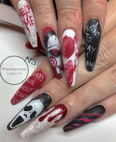 All handpainted using CND Shellac Lecen Gruesome Halloween Nails! All handpainted using CND Shellac Lecenté detailer brushes used and Lecenté glitters in Cardinal & Deep Red Holographic by Amanda Trivett Source by aprillogea Funky Nail Designs, Halloween Nail Designs, Halloween Nail Art, Acrylic Nail Designs, Nail Art Designs, Spooky Halloween, Acrylic Nails, Nail Swag, Cnd Shellac