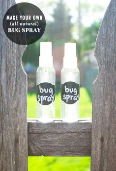 DIY Natural Bug Spray (Insect Repellant)  Ingredients:  Essential oils (choose your own combination of citronella, lemon, geranium, tea tree, eucalyptus, lavender, rosemary, or mint) Natural witch hazel Distilled water Spray bottles (travel or desired size)