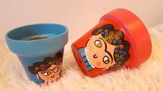 Macetas pintadas con frida kahlo