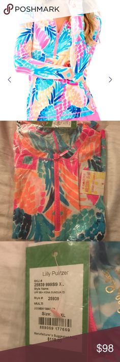 Lilly Pulitzer Luxletic Multi Goombay Pineapples This listing is for a NWT in plastic Lilly Pulitzer luxletic sungaurd Top in XL. The print is Multi Goombay Smashed which looks like pineapples Lilly Pulitzer Swim