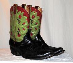 Vintage ML Leddy Cowboy Boots  Pee Wee  Inlay Roses  by kimvintage