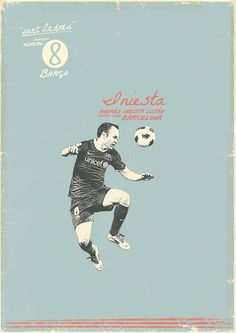 Andrés Iniesta - soccer, football poster - by Zoran Lucic Art Football, Soccer Art, Soccer Poster, Retro Football, Vintage Football, Messi 10, Lionel Messi, Messi Y Ronaldo, Football Paintings