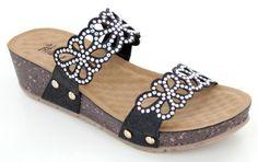 Black Wedge sandal with crystal eyelet strap