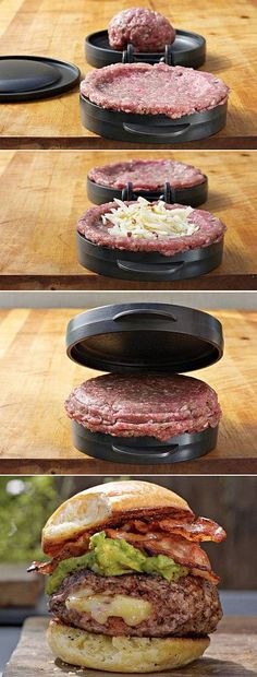 Homemade Cheese Stuffed Burger looks delicious! I Love Food, Good Food, Yummy Food, Cooking Gadgets, Cooking Recipes, Kitchen Gadgets, Burger Recipes, Food Truck, Food Porn