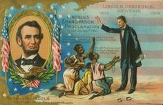 This postcard is part of a series issued to commemorate the centennial of Lincoln's birth in 1909. It shows Lincoln holding the emancipation proclamation.  **I have this exact postcard which is postmarked Feb 12, 1909...the 100th Anniv. of Abe's birth and it is now over 100 years old.