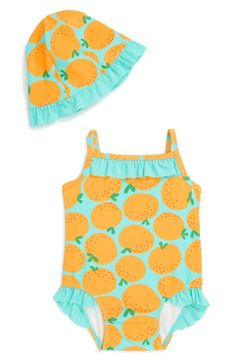 Too cute! Adorable ruffle one-piece swimsuit & hat for the baby girl!